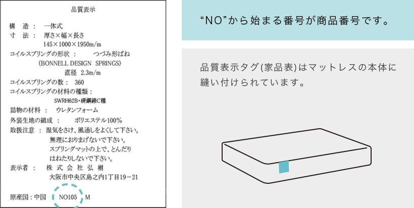 """商品番号位置:""""NO""""から始まる番号が商品番号です。品質表示タグ(家品表)はマットレスの本体に縫い付けられています。"""
